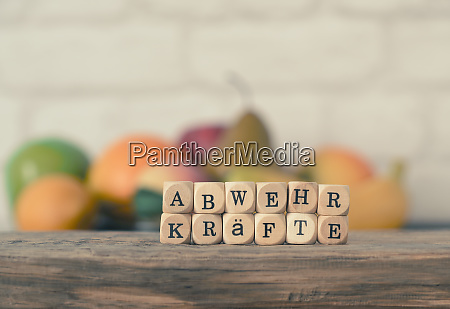wooden blocks with the german word