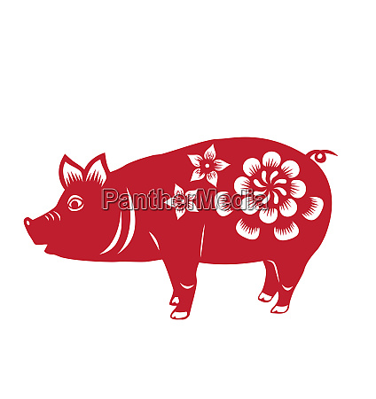 chinene zodiac pig animal red horoscope