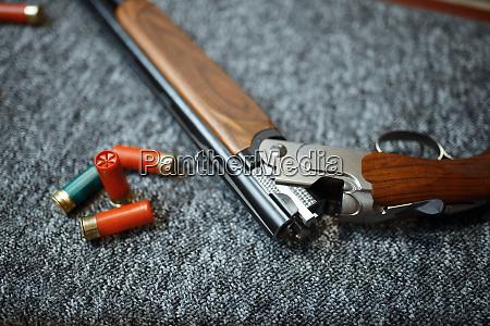 rifle and ammo in gun shop