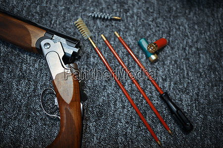 rifle ammo and tools for cleaning