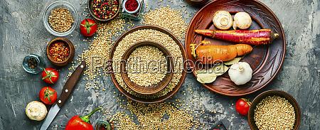 background green buckwheat closeup