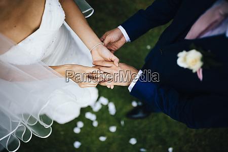 high angle view of husband and