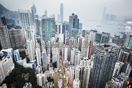 high angle view over dense cityscape
