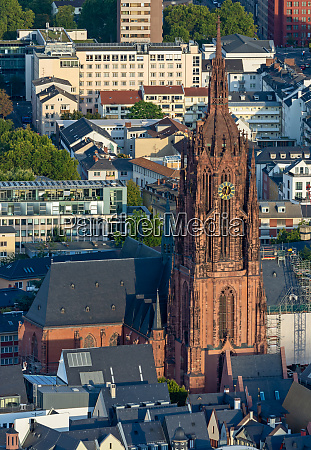 aerial view over the kaiserdom cathedral