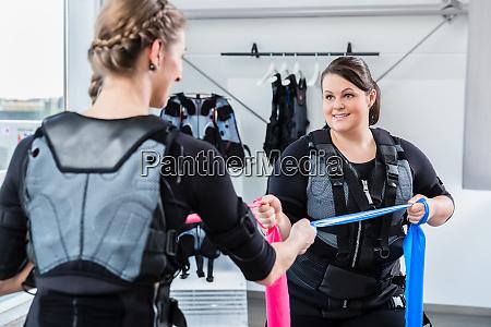 skinny and plump woman having ems