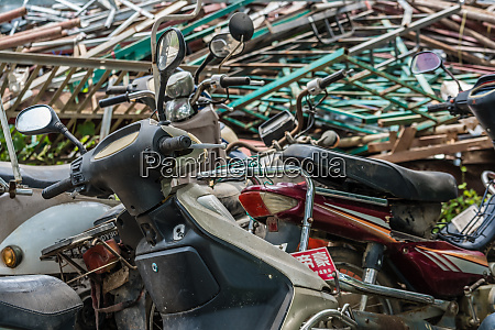 motorcycle and scooter graveyard in china