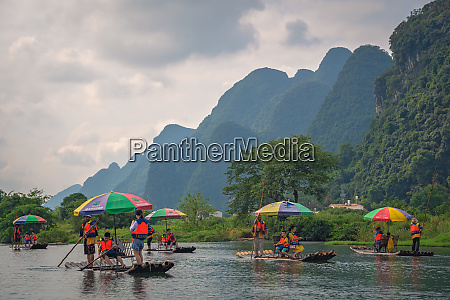 wooden bamboo rafts on yulong river