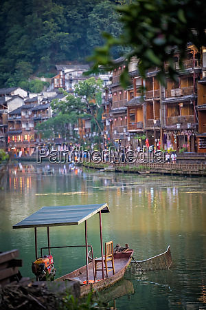 old boat and historic wooden diaojiao