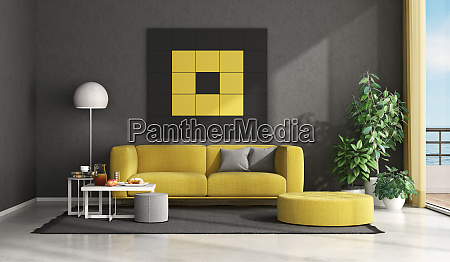 black and yellow modern living room