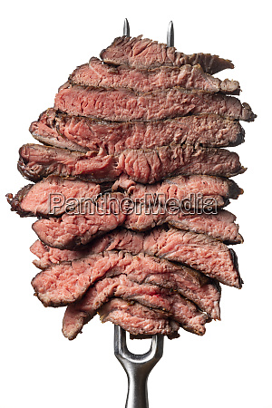 slices of a steak on white