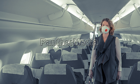 woman on board of aircraft with