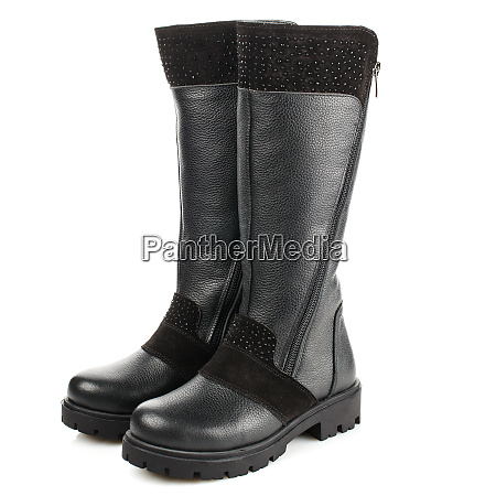 black childrens high boots with suede