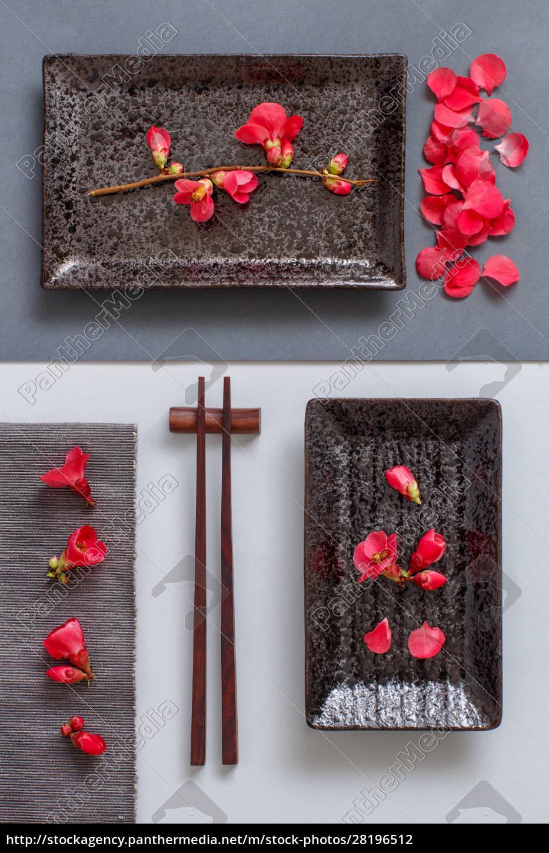 chopsticks, , rectangular, plate, and, pink, flowers - 28196512