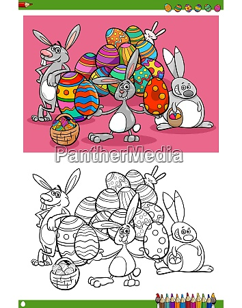 easter bunnies holiday characters coloring book