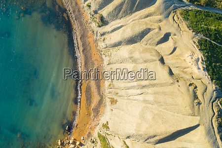 aerial view of salt pans in