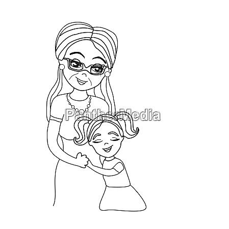 hugging grandma doodle illustration