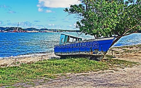 abandoned boat on st johns harbor