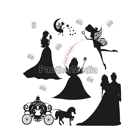 set of illustrations of princesses and