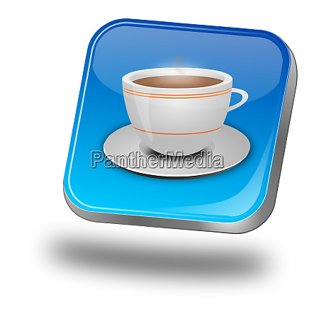 glossy blue button with a cup