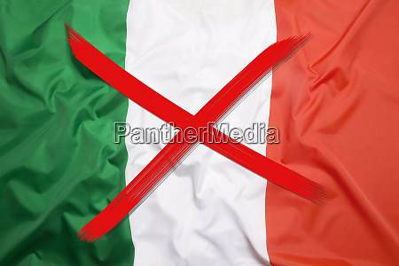 crossed out flag of italy curfew