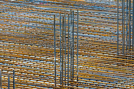 steel grid on a construction site