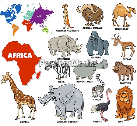 educational illustration of african animals set