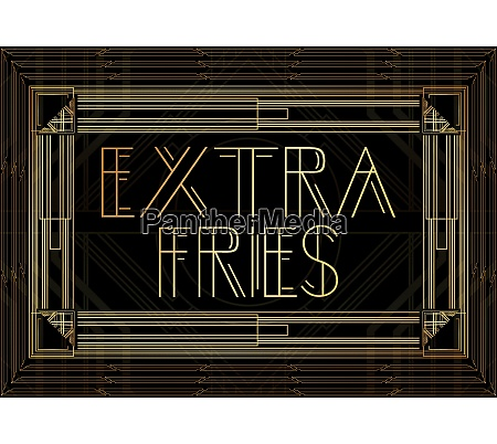 golden decorative extra fries sign with