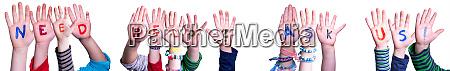 children hands building word need help