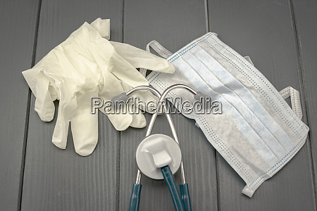 safety mask latex gloves and stethoscope