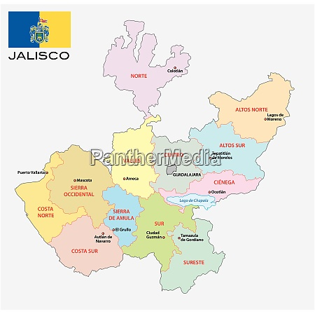 jalisco administrative and political vector map