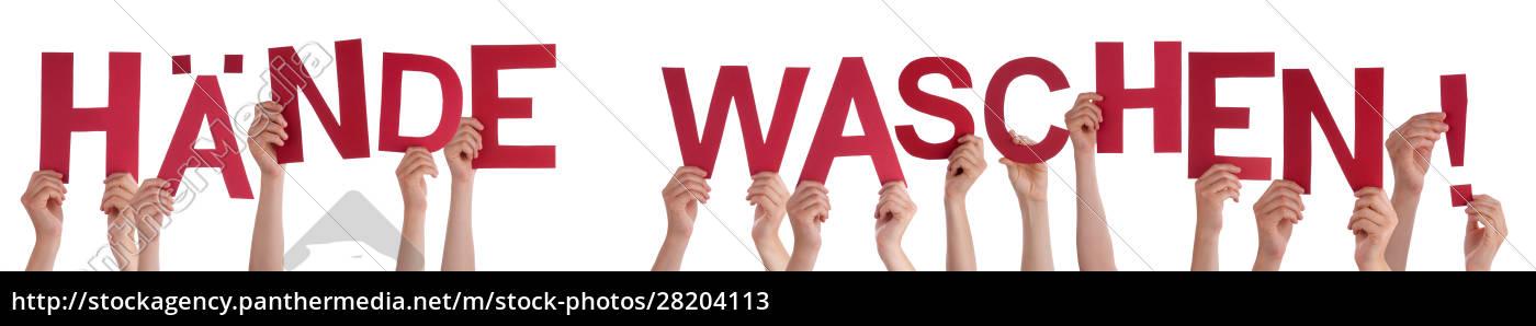 hands, holding, word, haende, waschen, means - 28204113