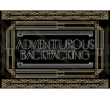 golden decorative adventurous backpacking sign with