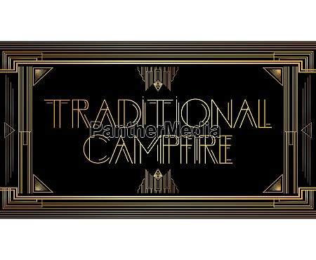 golden decorative traditional campfire sign with