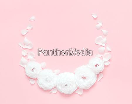 circle frame made of ranunculus flowers