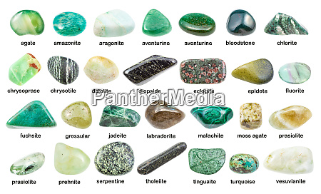 set of various green gemstones with