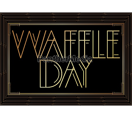 golden decorative waffle day sign with
