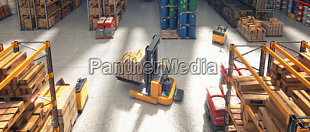 top view of a forklift truck