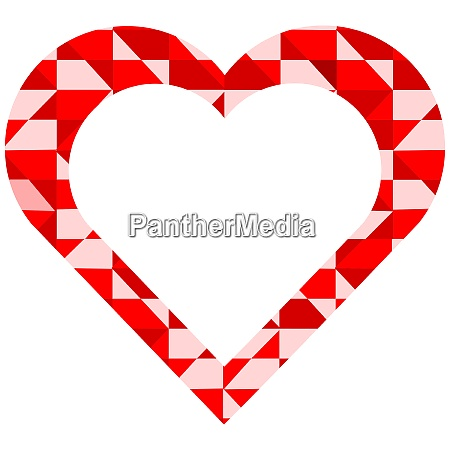 red and pink heart on white