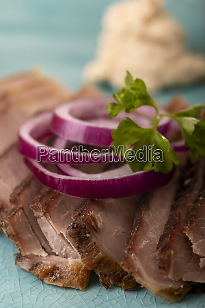 slices of cold roast pork with