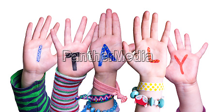 children hands building word italy isolated