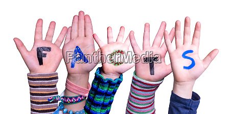 children hands building word facts isolated