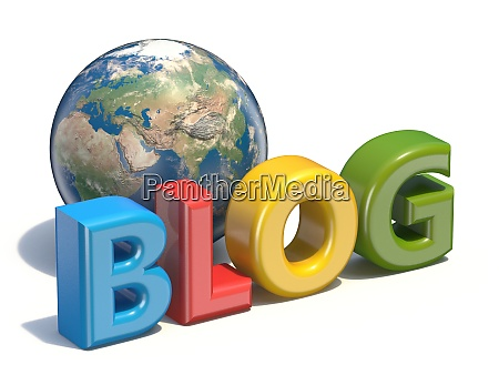 blog text with globe elements of