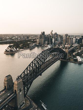 aerial view of the harbour bridge