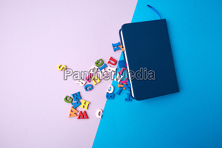 blue, notebook, and, scattered, wooden, multi-colored - 28215627