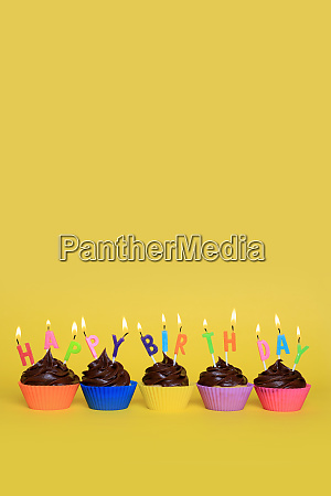 colorful, happy, birthday, cupcakes, with, candles - 28215569