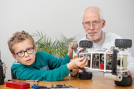 grandpa, and, son, little, boy, repairing - 28215166