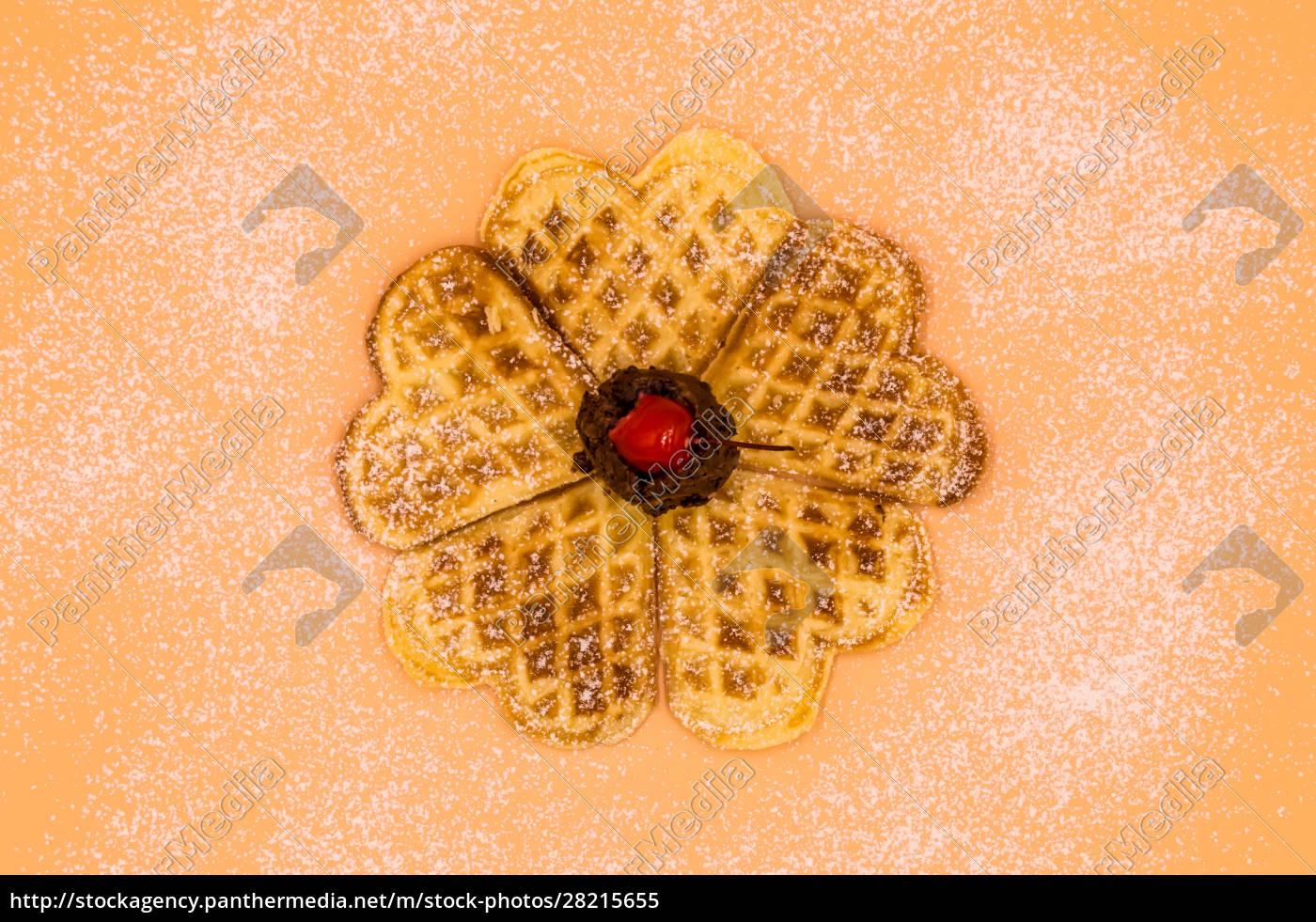 homemade, waffles, with, powdered, sugar, , a - 28215655