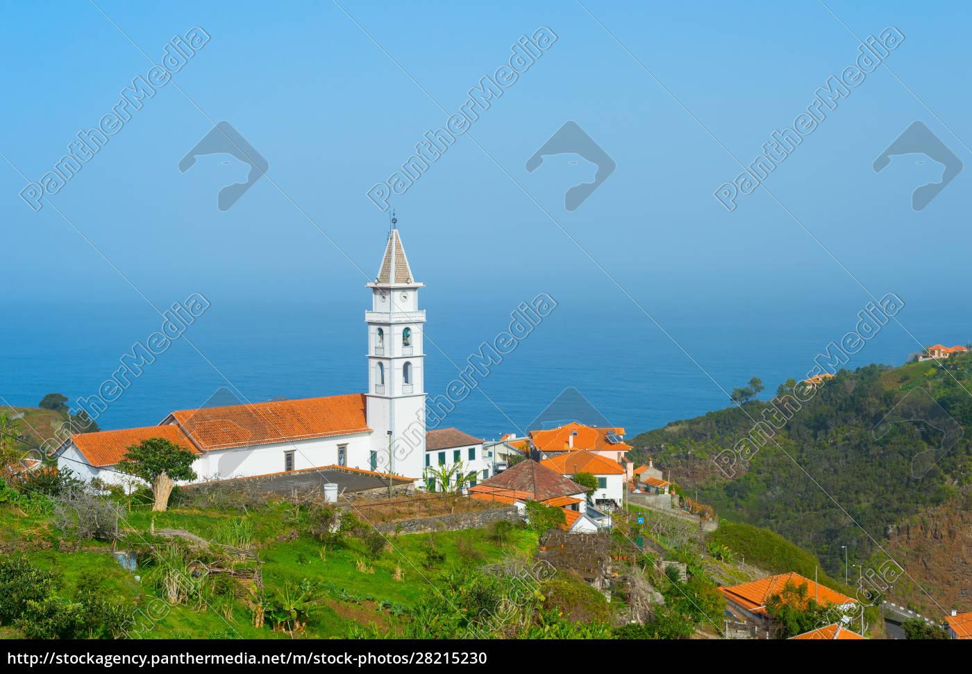 landscape, village, church, ocean, madeira - 28215230