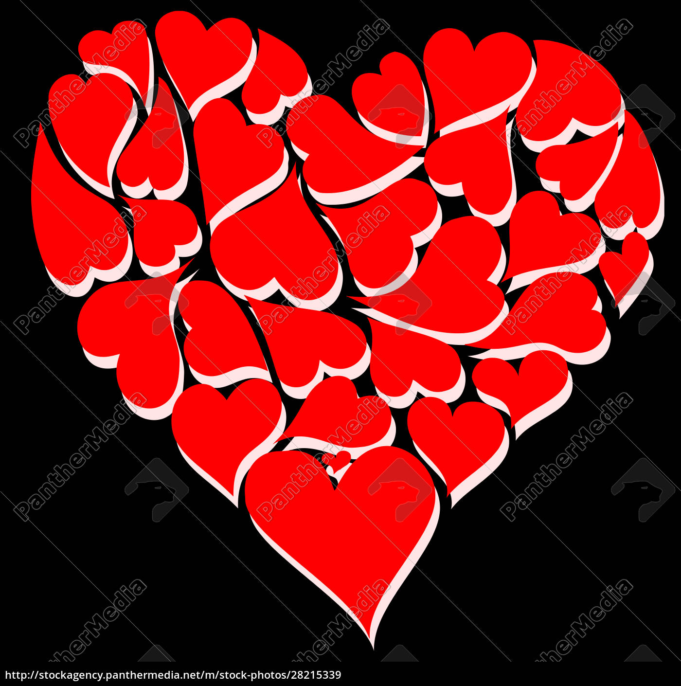 red, heart, shapes, with, shadow, illustration - 28215339