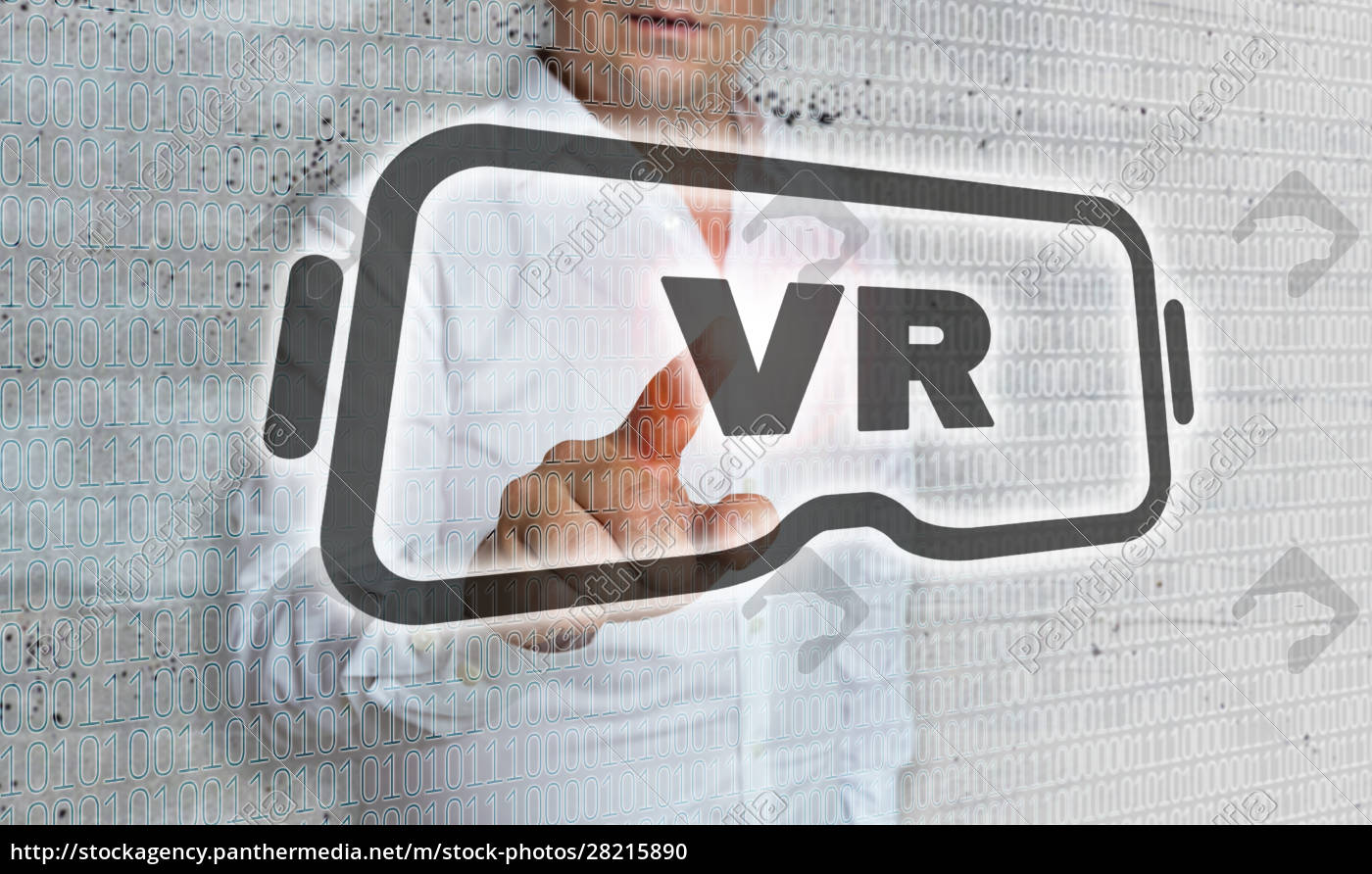 virtual, reality, icon, with, matrix, and - 28215890